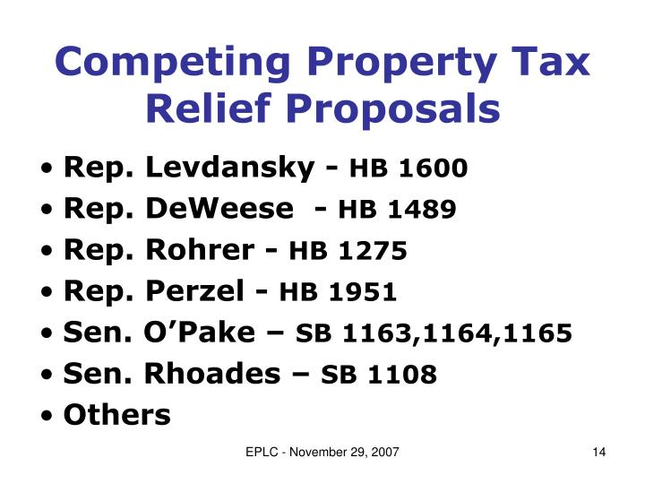 Competing Property Tax Relief Proposals