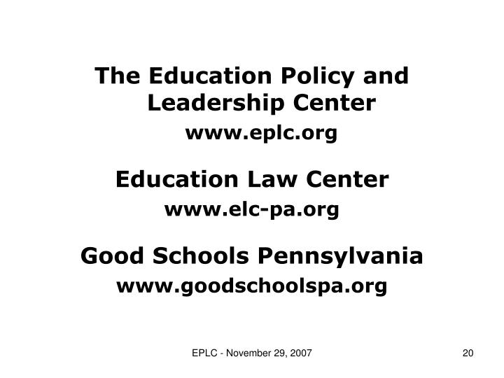 The Education Policy and Leadership Center