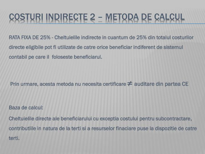 COSTURI indirecte 2 – metoda de calcul