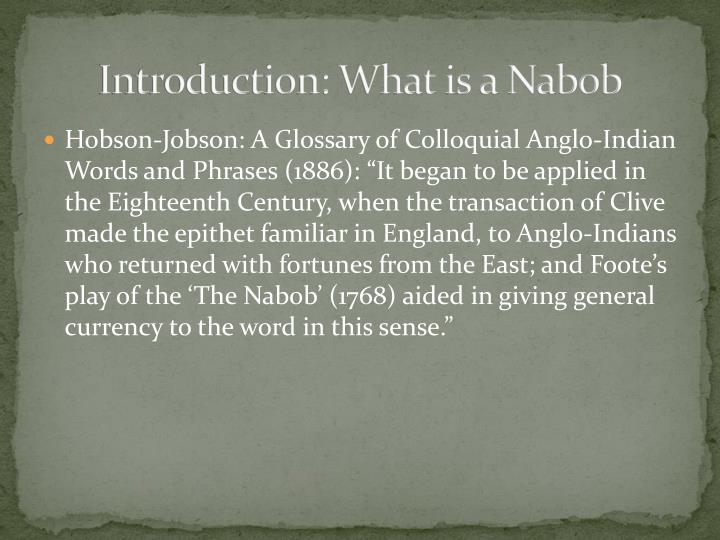 Introduction: What is a Nabob