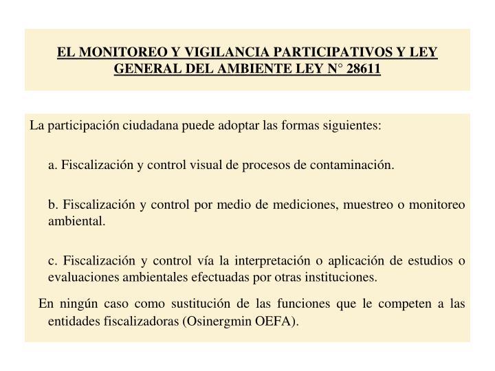 EL MONITOREO Y VIGILANCIA PARTICIPATIVOS Y LEY GENERAL DEL AMBIENTE LEY N° 28611