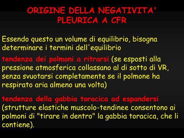ORIGINE DELLA NEGATIVITA'