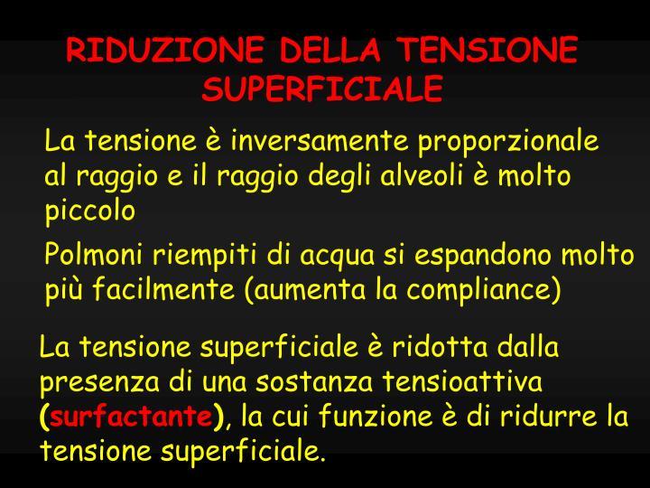 RIDUZIONE DELLA TENSIONE SUPERFICIALE
