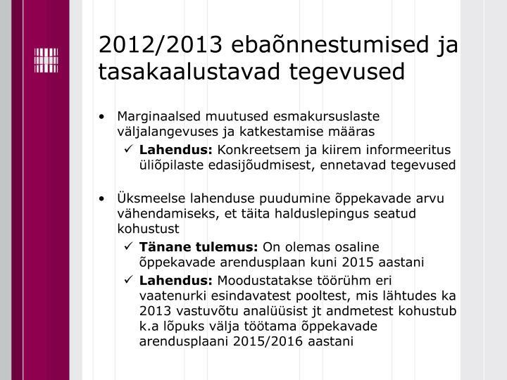 2012/2013 ebaõnnestumised ja tasakaalustavad tegevused