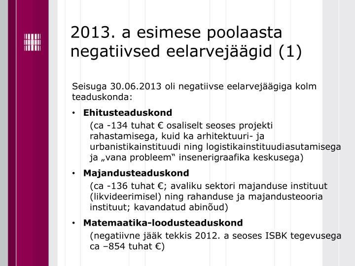 2013. a esimese poolaasta negatiivsed eelarvejäägid (1)