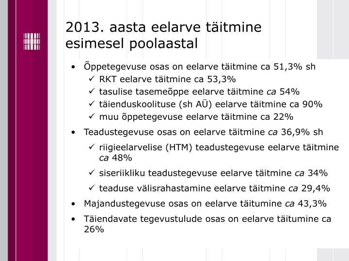2013. aasta eelarve täitmine esimesel poolaastal