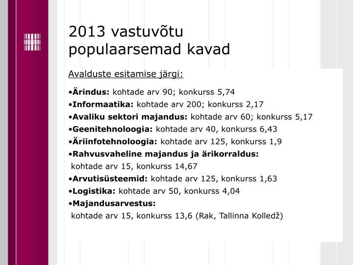 2013 vastuvõtu populaarsemad kavad