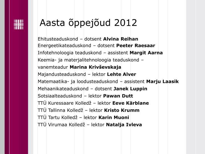Aasta õppejõud 2012
