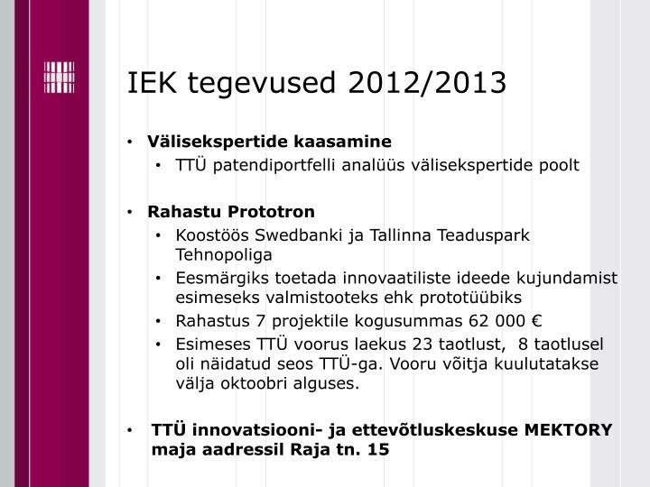 IEK tegevused 2012/2013