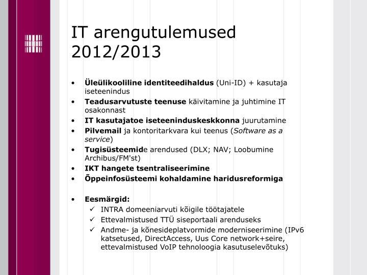 IT arengutulemused 2012/2013