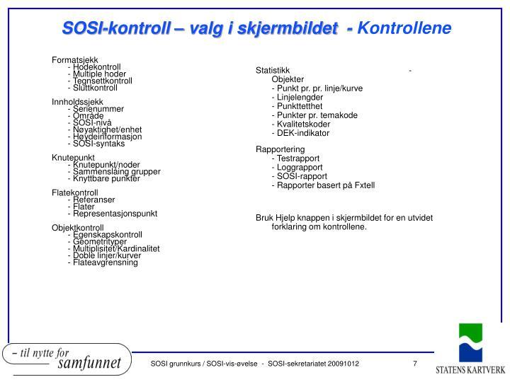 SOSI-kontroll – valg i skjermbildet  -