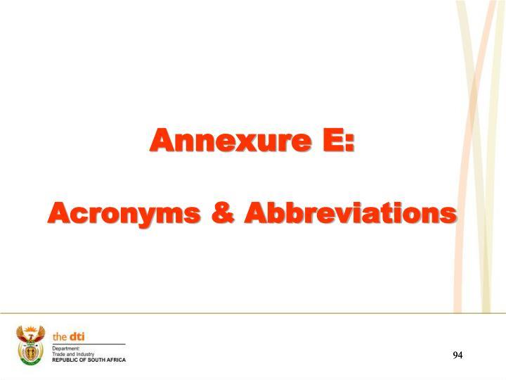 Annexure E: