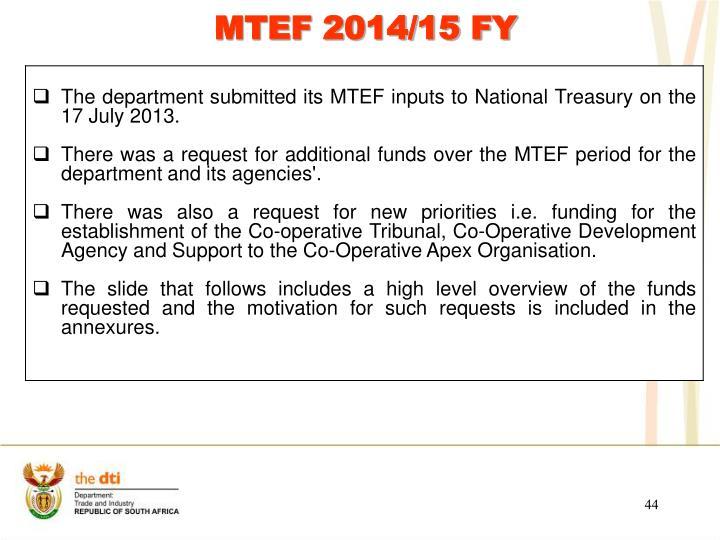 MTEF 2014/15 FY