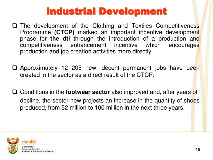 The development of the Clothing and Textiles Competitiveness Programme