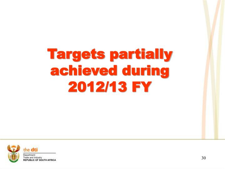 Targets partially achieved during 2012/13 FY