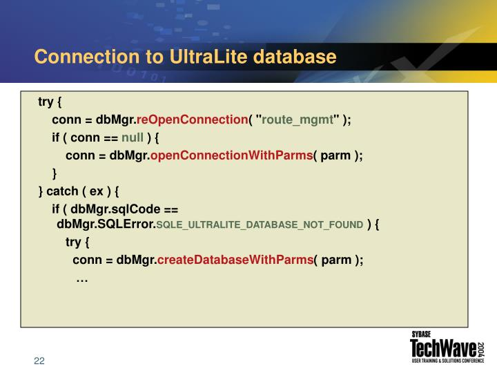 Connection to UltraLite database