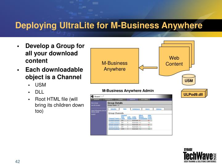 Deploying UltraLite for M-Business Anywhere