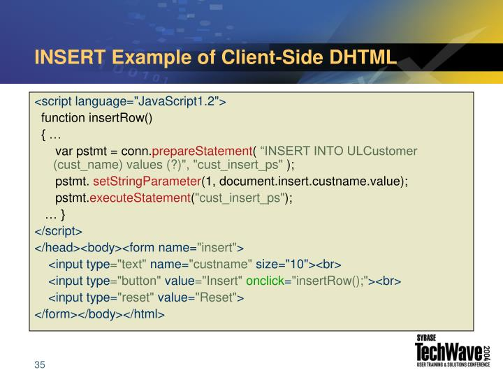 INSERT Example of Client-Side DHTML