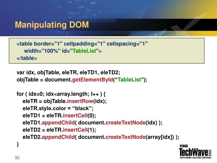 Manipulating DOM