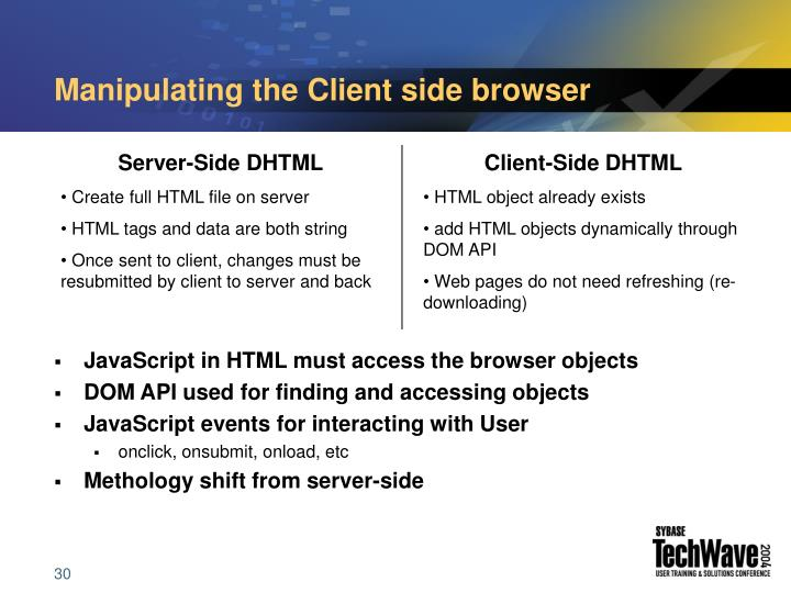 Manipulating the Client side browser