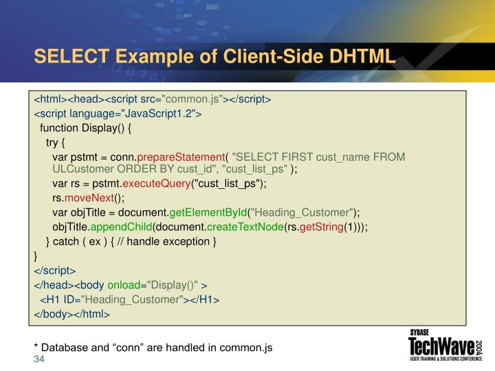 SELECT Example of Client-Side DHTML