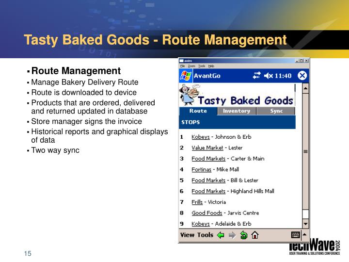 Tasty Baked Goods - Route Management