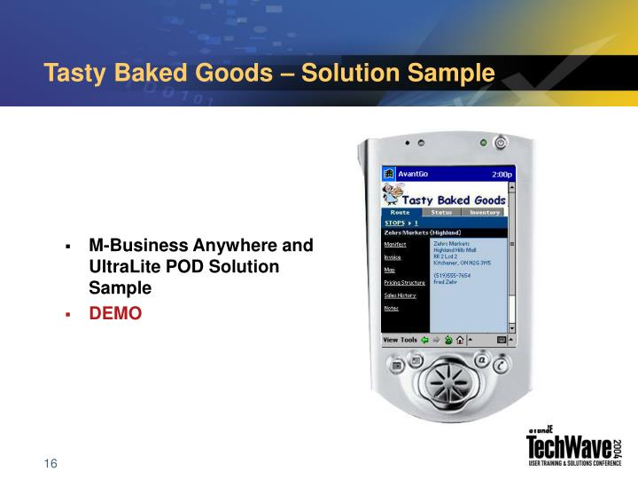 Tasty Baked Goods – Solution Sample