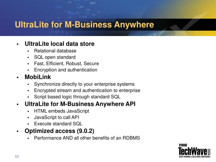 UltraLite for M-Business Anywhere