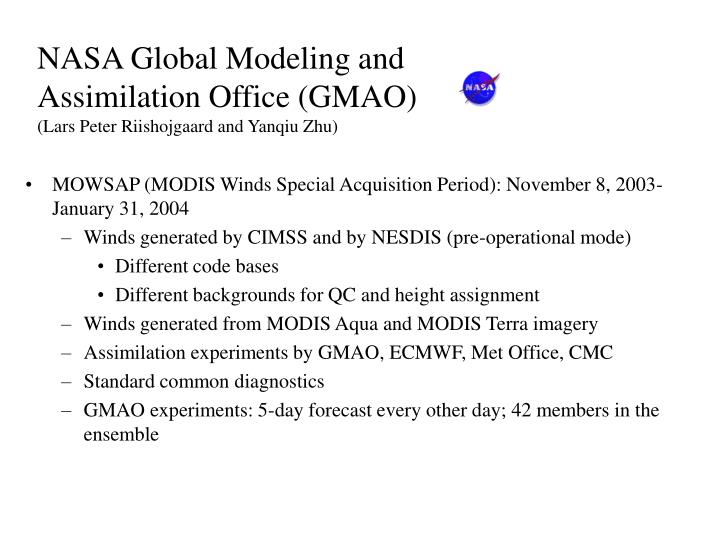 NASA Global Modeling and