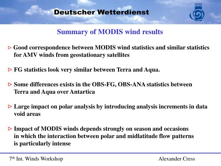 Summary of MODIS wind results