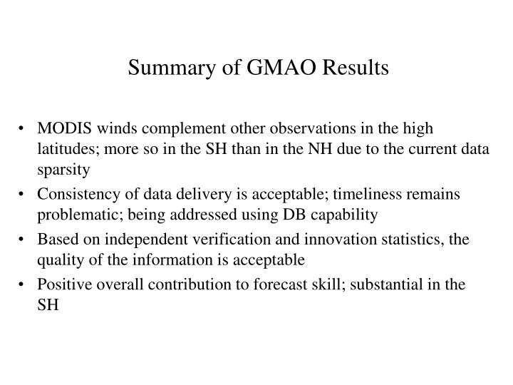 Summary of GMAO Results