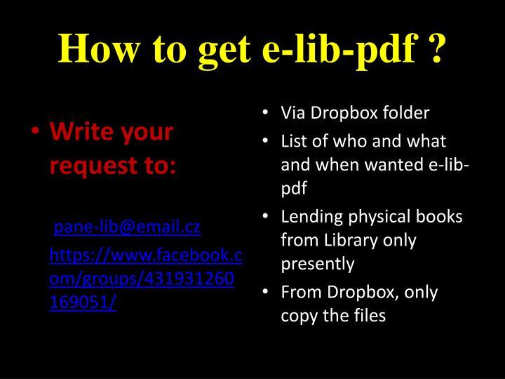How to get e-lib-pdf ?