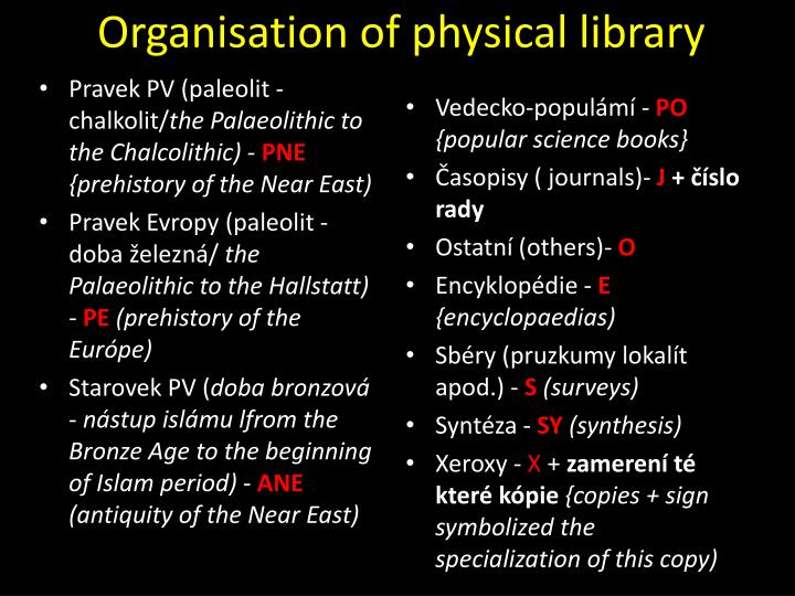 Organisation of physical library