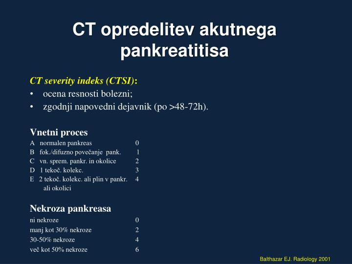CT opredelitev akutnega pankreatitisa