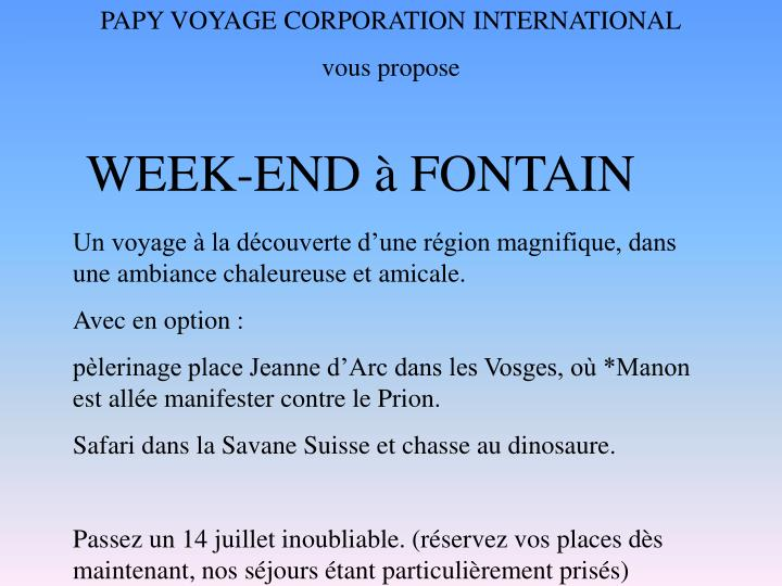 PAPY VOYAGE CORPORATION INTERNATIONAL