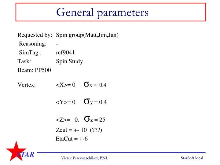 General parameters