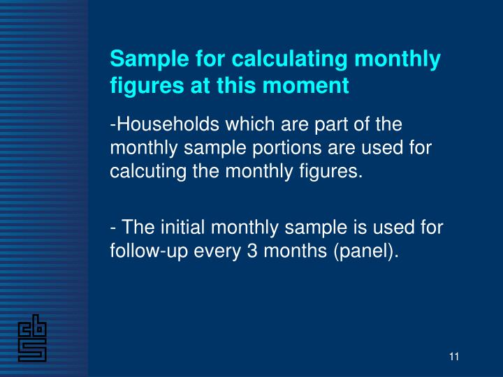 Sample for calculating monthly figures at this moment