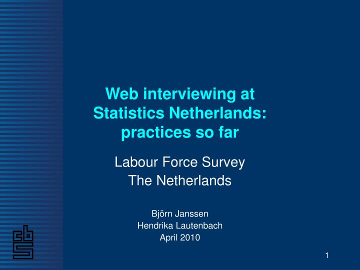 Web interviewing at statistics netherlands practices so far