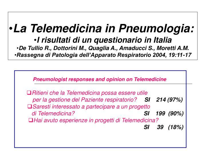 La Telemedicina in Pneumologia: