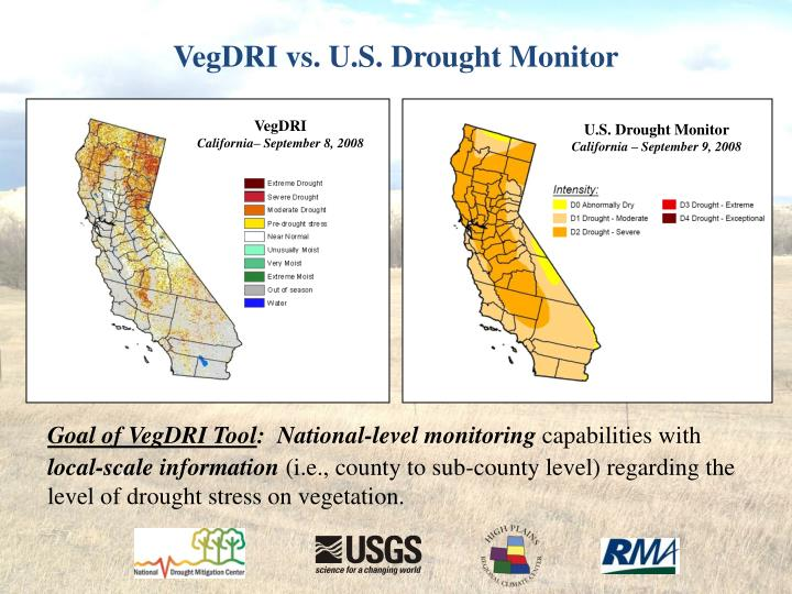 VegDRI vs. U.S. Drought Monitor