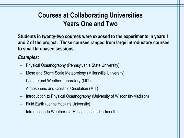 Courses at Collaborating Universities