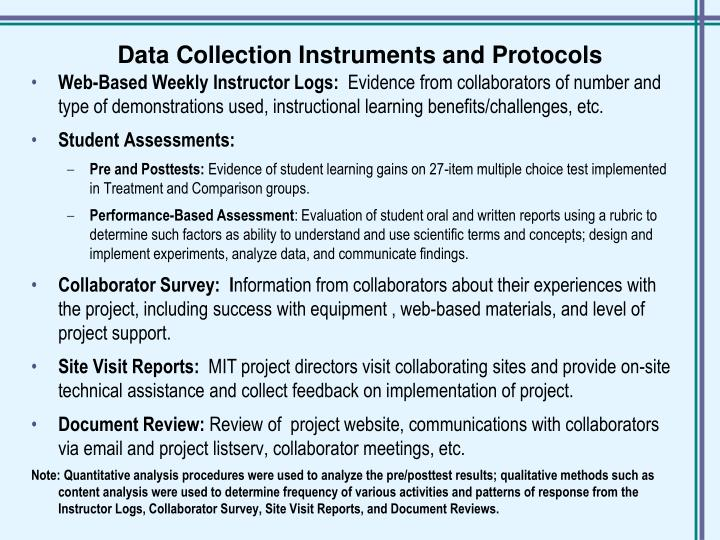 Data Collection Instruments and Protocols