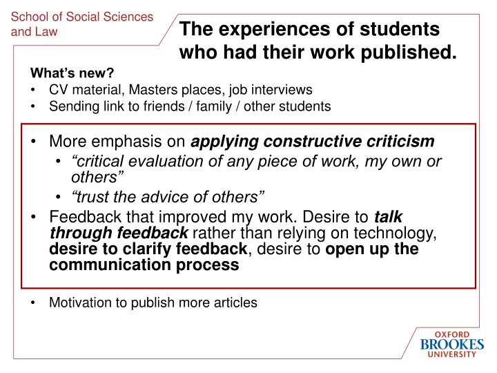 The experiences of students who had their work published.