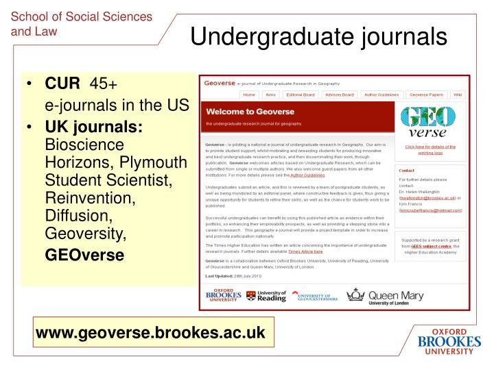Undergraduate journals