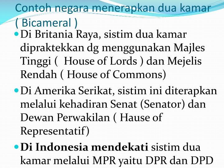 Contoh negara menerapkan dua kamar ( Bicameral )