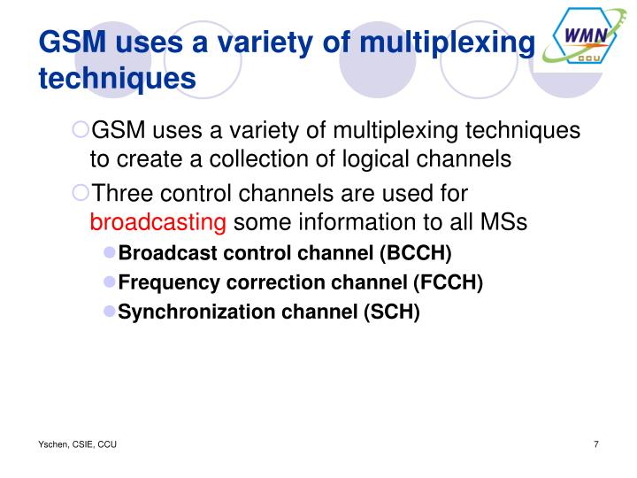 GSM uses a variety of multiplexing techniques