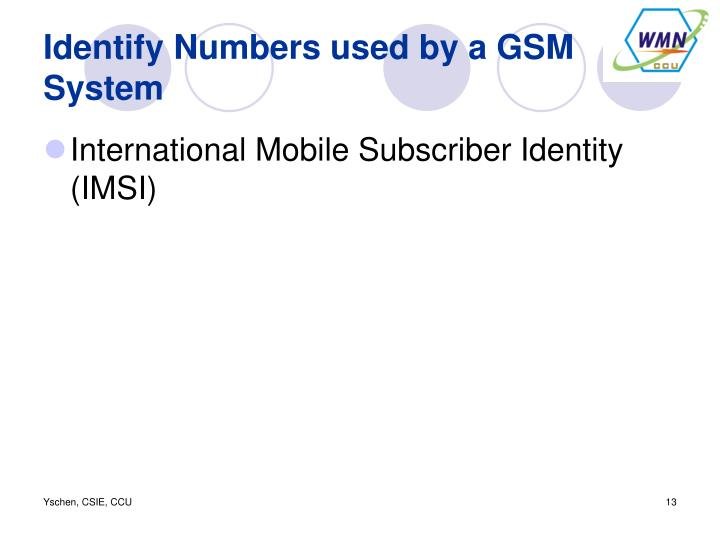 Identify Numbers used by a GSM System