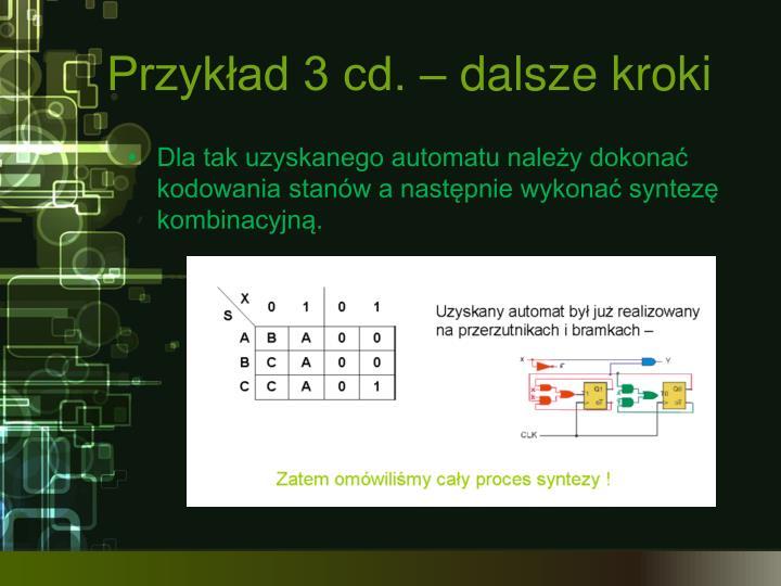 Przykład 3 cd. – dalsze kroki