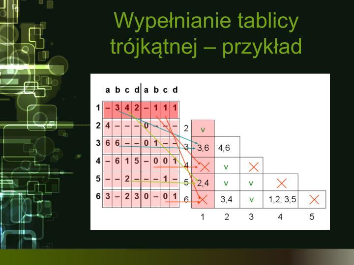 Wypełnianie tablicy trójkątnej – przykład