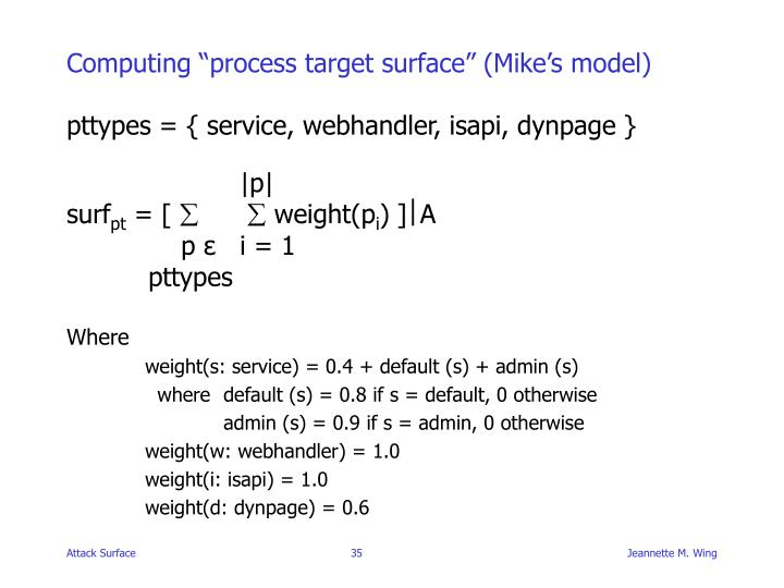 "Computing ""process target surface"" (Mike's model)"